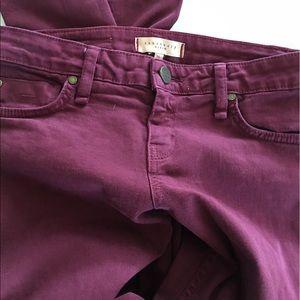 Sanctuary cranberry colored skinny denim jeans